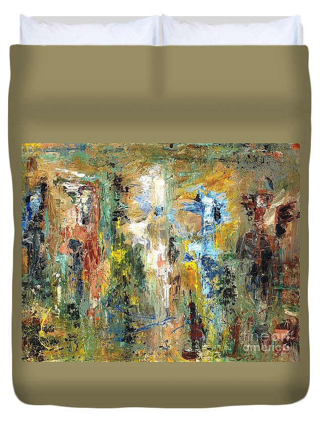 Horses Duvet Cover featuring the painting A Herd Of Five by Frances Marino