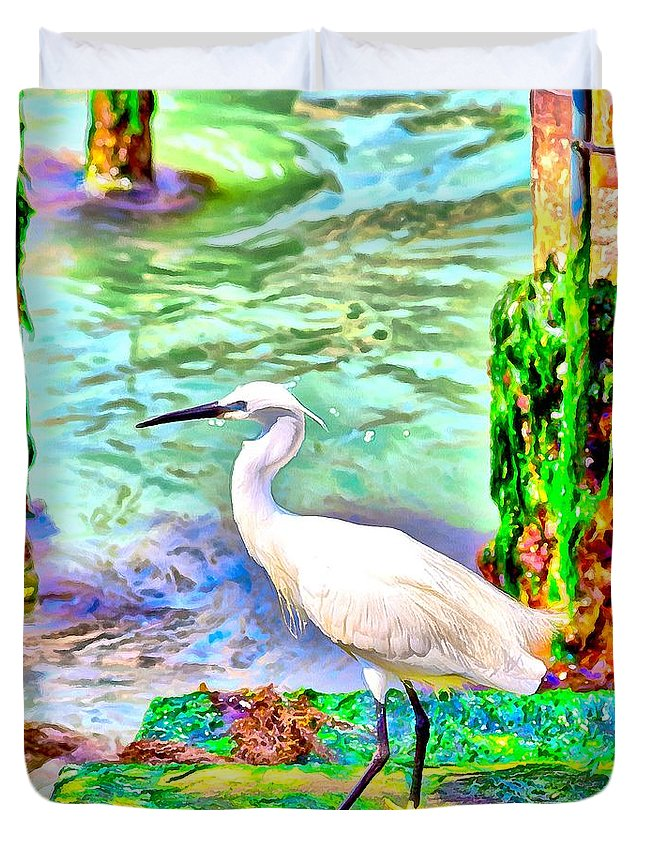 Heron; Seawead; Green; White; Active; Bird; Venice; Water; Europe; Grand Canal; Italy; Animal; Beautiful; Beauty; Gorgeous; Black; Blue; Colorful; Fishing; Portrait; Wildlife Duvet Cover featuring the digital art a heron is walking on a stair about the Grand Canal by Gina Koch