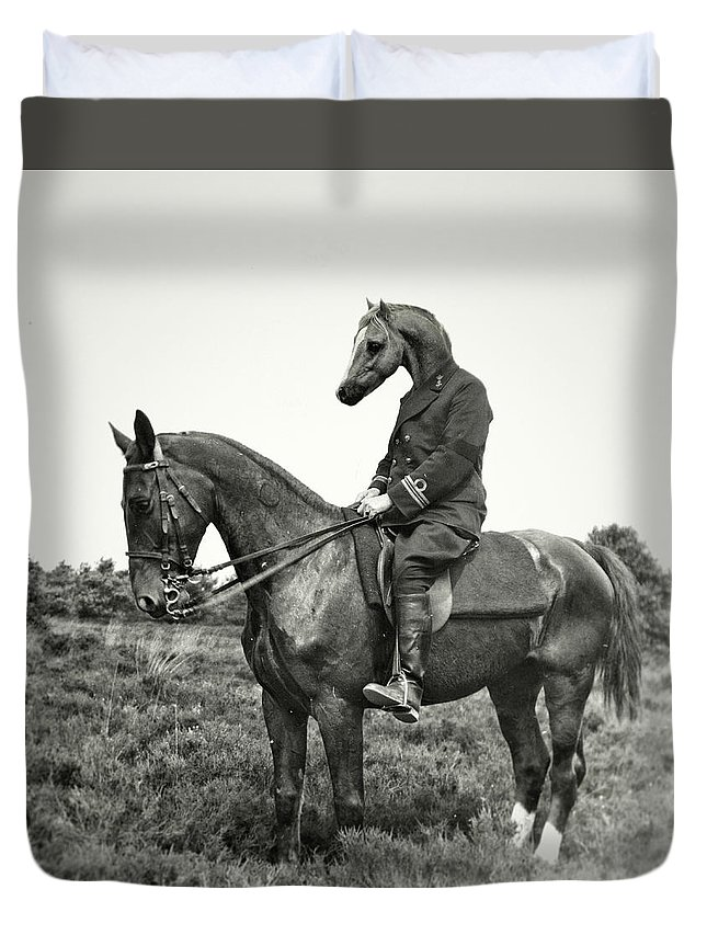 Black&white Duvet Cover featuring the photograph A Horse Ride by Ronald Van Grinsven