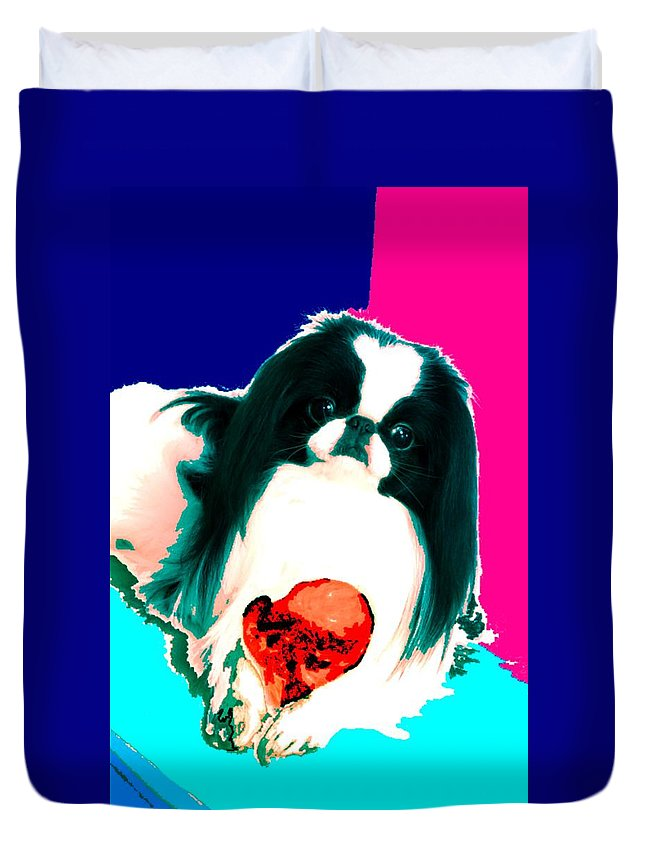 A Japanese Chin And His Toy Duvet Cover featuring the digital art A Japanese Chin And His Toy by Kathleen Sepulveda
