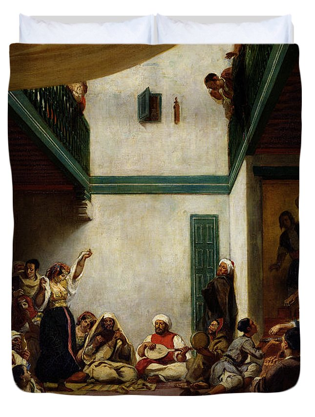 Jewish Duvet Cover featuring the painting A Jewish Wedding In Morocco by Ferdinand Victor Eugene Delacroix