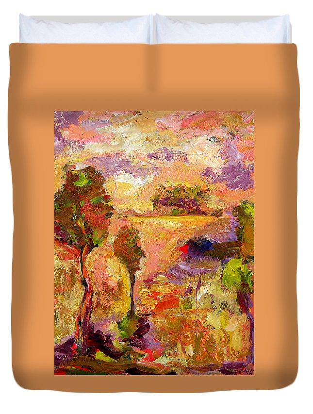 Colorful Canvas Prints Duvet Cover featuring the painting A Joyous Landscape by Julianne Felton