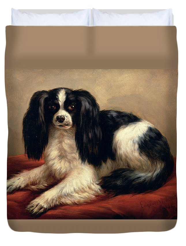 A King Charles Spaniel Seated On A Red Cushion Duvet Cover featuring the painting A King Charles Spaniel Seated On A Red Cushion by Eugene Joseph Verboeckhoven