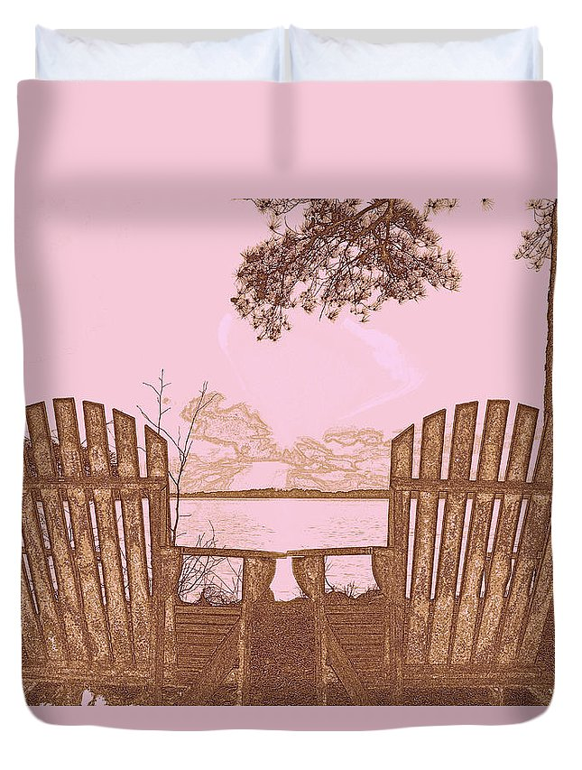 A Lake Murray Sc Sketch Duvet Cover featuring the photograph A Lake Murray Sc Sketch by Lisa Wooten