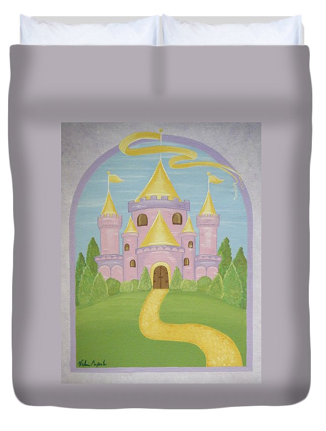 Fairytale Duvet Cover featuring the painting A Land Far Away by Valerie Carpenter