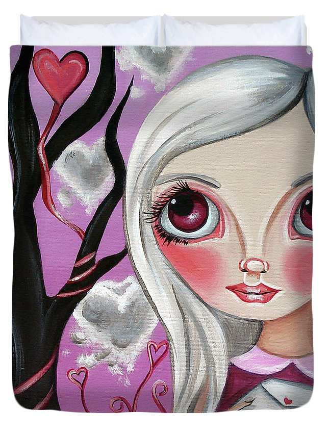 Art Duvet Cover featuring the painting A Letter From My Valentine by Jaz Higgins