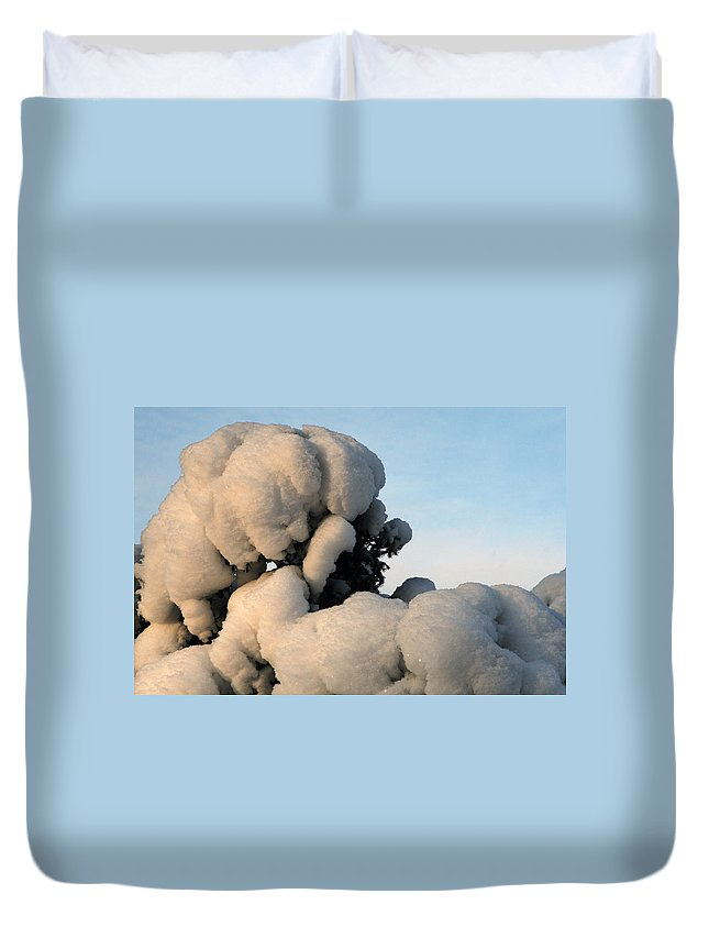 Snow Duvet Cover featuring the photograph A Lick Of Snow On The Bush by Paul SEQUENCE Ferguson       sequence dot net