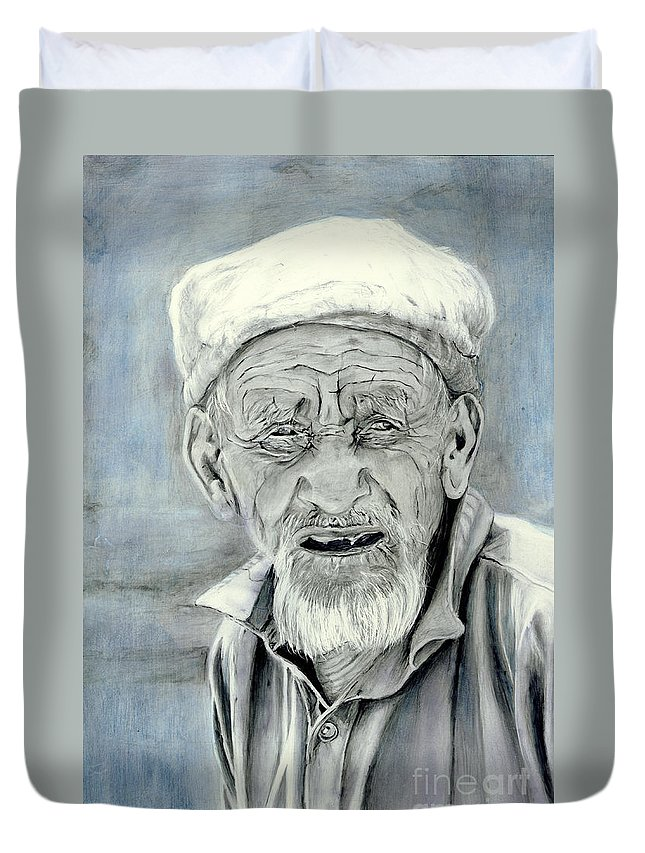 Figurative Art Duvet Cover featuring the painting A Life Time by Enzie Shahmiri