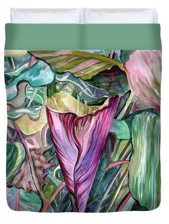 Garden Duvet Cover featuring the painting A Light In The Garden by Mindy Newman