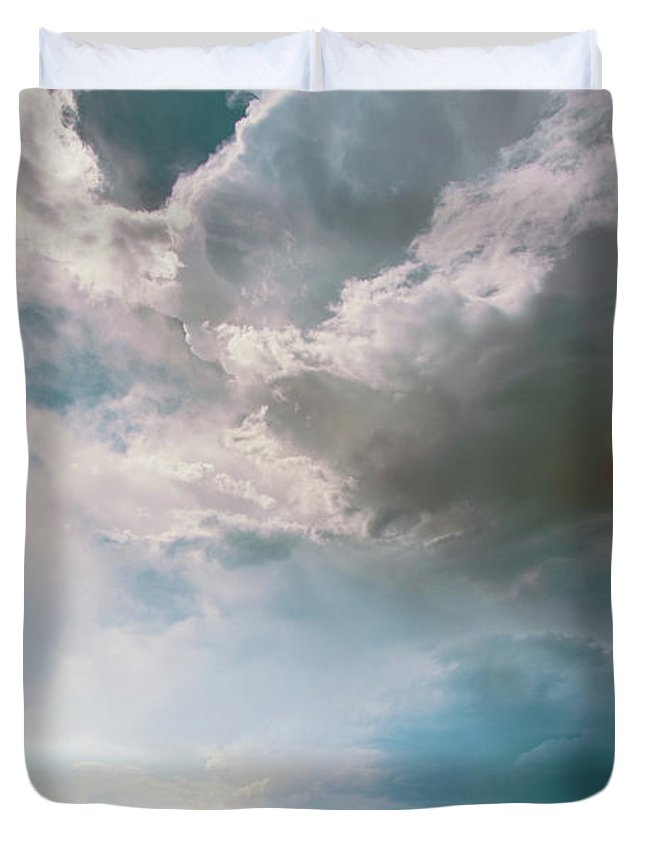 Landscape Duvet Cover featuring the photograph A Light In The Storm by Annie Bailey