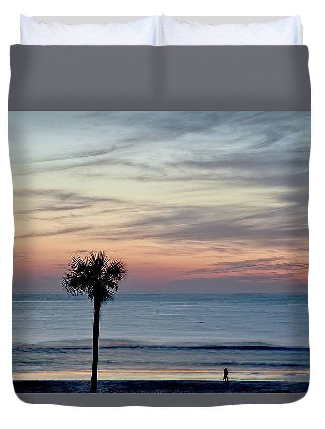 Daytona Duvet Cover featuring the photograph Daytona Beach Sunrise by Kay Brewer