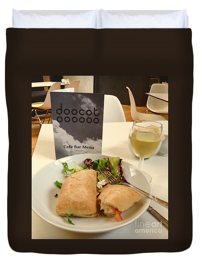 The Lighthouse Duvet Cover featuring the photograph A Lighthouse Lunch by Joan-Violet Stretch