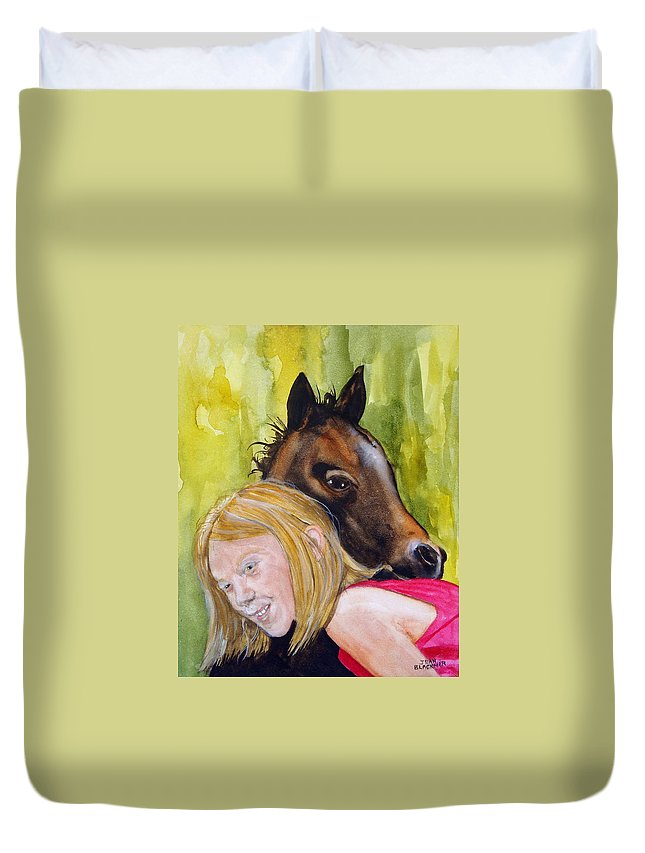 Equine Duvet Cover featuring the painting A Little Girl's Fancy by Jean Blackmer