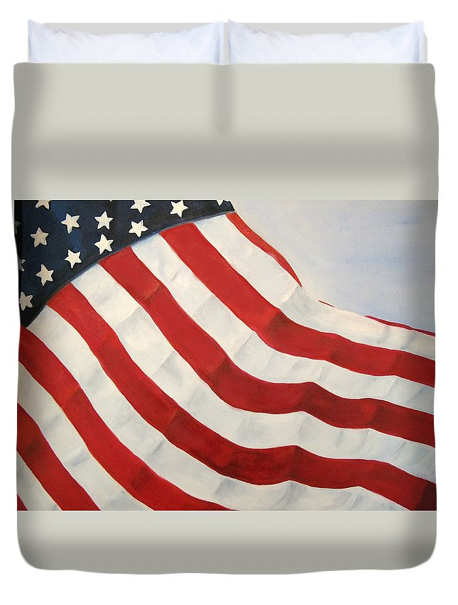Flag Duvet Cover featuring the painting A Little Glory by Carol Sweetwood