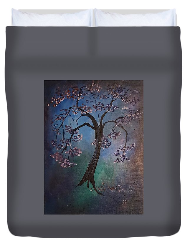 Tree Duvet Cover featuring the painting A Little Magic          69 by Cheryl Nancy Ann Gordon