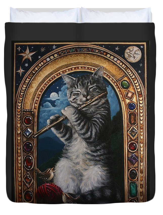 Cat Duvet Cover featuring the painting A Little Night Music by Marguerite Anderson