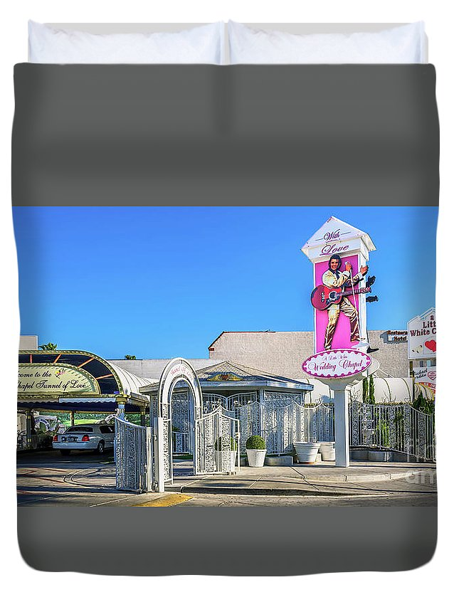 A Little White Chapel Duvet Cover featuring the photograph A Little White Chapel From The North 2 To 1 Ratio by Aloha Art