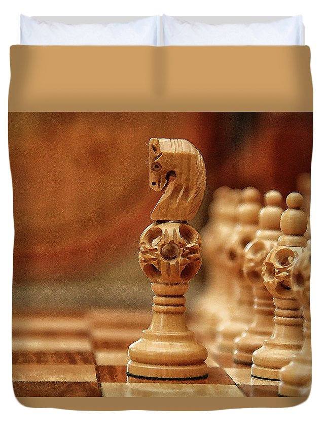 Board Duvet Cover featuring the digital art A Lone Knight by Sandeep Gangadharan
