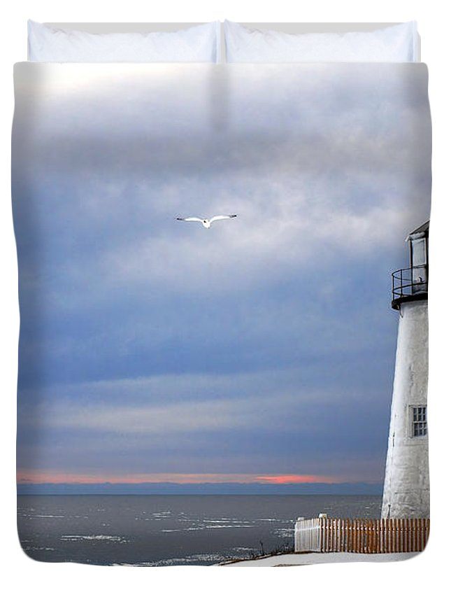 Maine Duvet Cover featuring the photograph A Lonely Seagull Was Flying Over The Pemaquid Point Lighthouse by Olivier Le Queinec