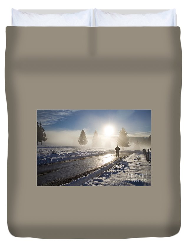 Landscape Duvet Cover featuring the photograph A Lonely Winter by Gabriela Insuratelu