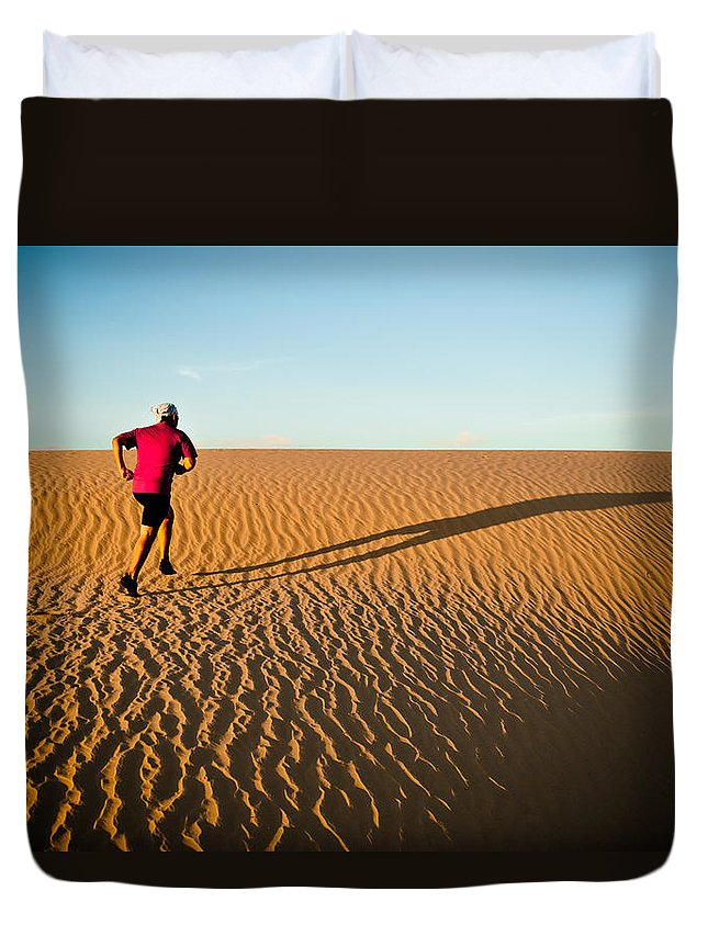 Running Duvet Cover featuring the photograph A Long Desert Run by Scott Sawyer