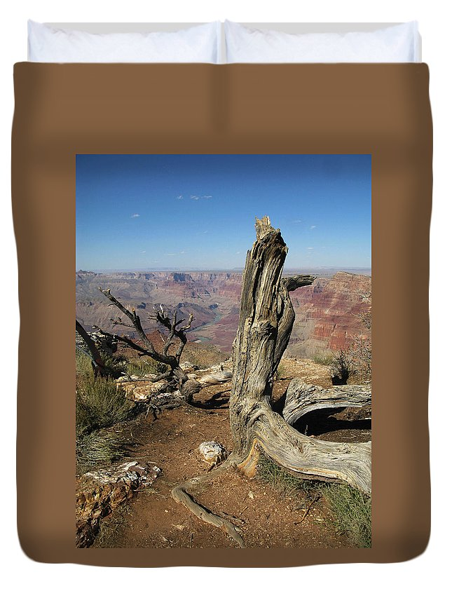 Grand Canyon Duvet Cover featuring the photograph A Long Time Ago by Cathy Franklin