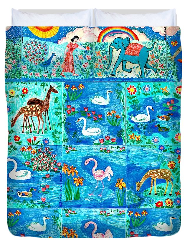 Sue Burgess Duvet Cover featuring the painting A Magic Country by Sushila Burgess