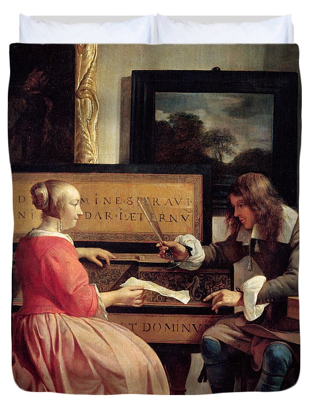 Man Duvet Cover featuring the painting A Man And A Woman Seated By A Virginal by Gabriel Metsu