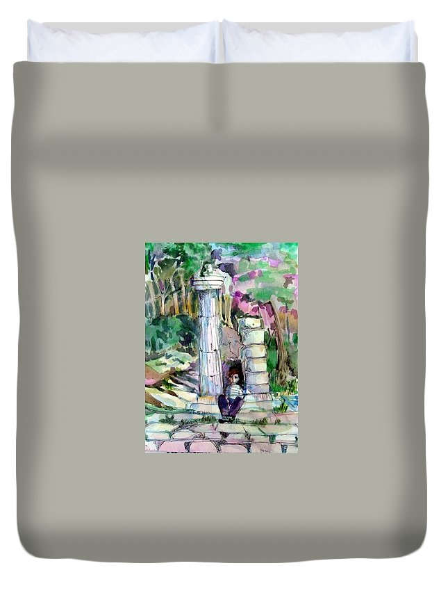 Watercolor Duvet Cover featuring the painting A Man In Ruins by Mindy Newman