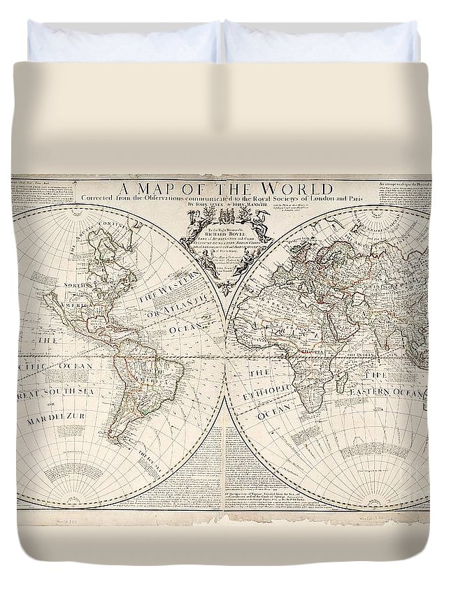 Map Duvet Cover featuring the painting A Map of the World by John Senex