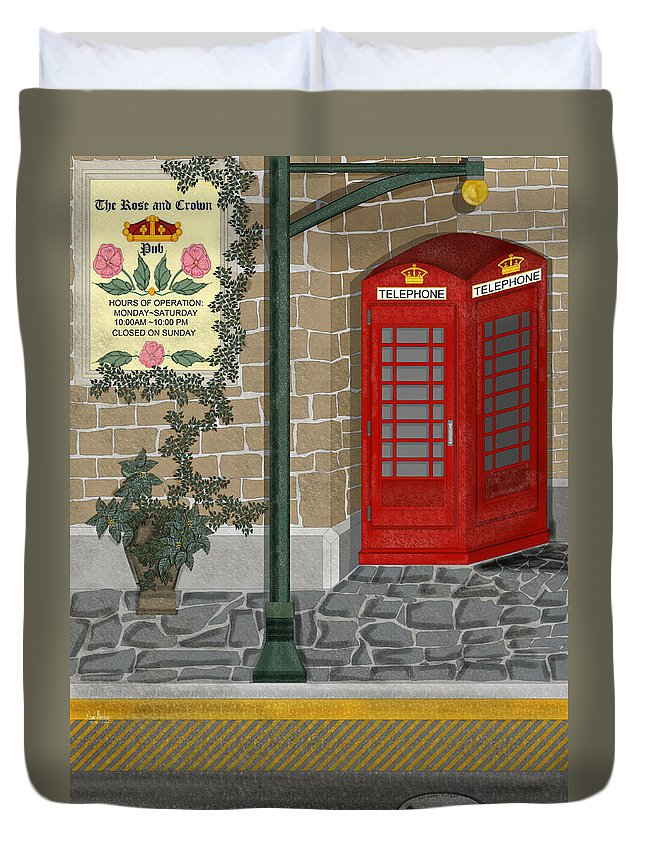 Cityscape Duvet Cover featuring the painting A Merry Old Corner In London by Anne Norskog