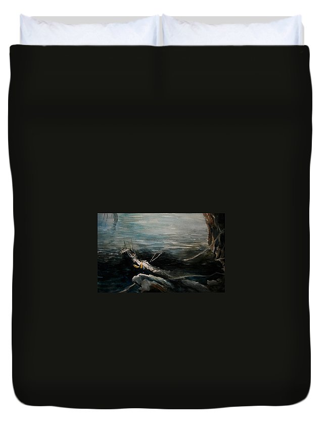 Landscape Duvet Cover featuring the painting A Moment In Time by Rachel Christine Nowicki
