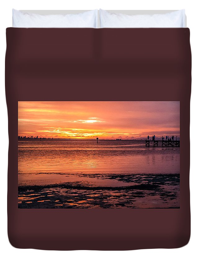 Sunset Duvet Cover featuring the photograph A Moment To Enjoy by Norman Johnson
