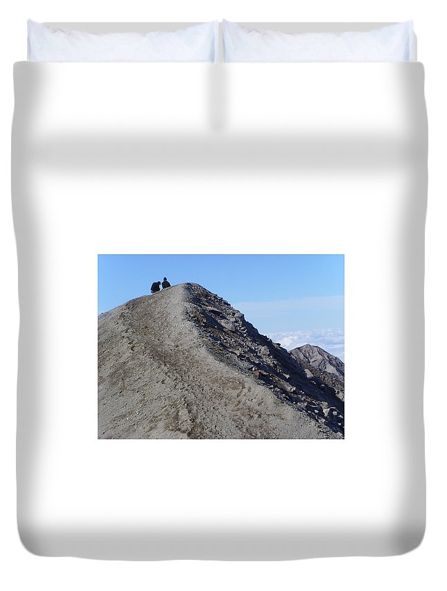 Mt St Helens Duvet Cover featuring the A Moment Together by Jeff Swan