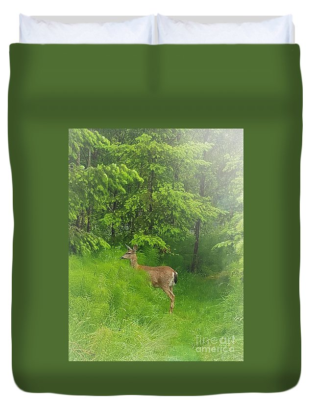 Deer Duvet Cover featuring the photograph A Morning Stroll by Jane Powell