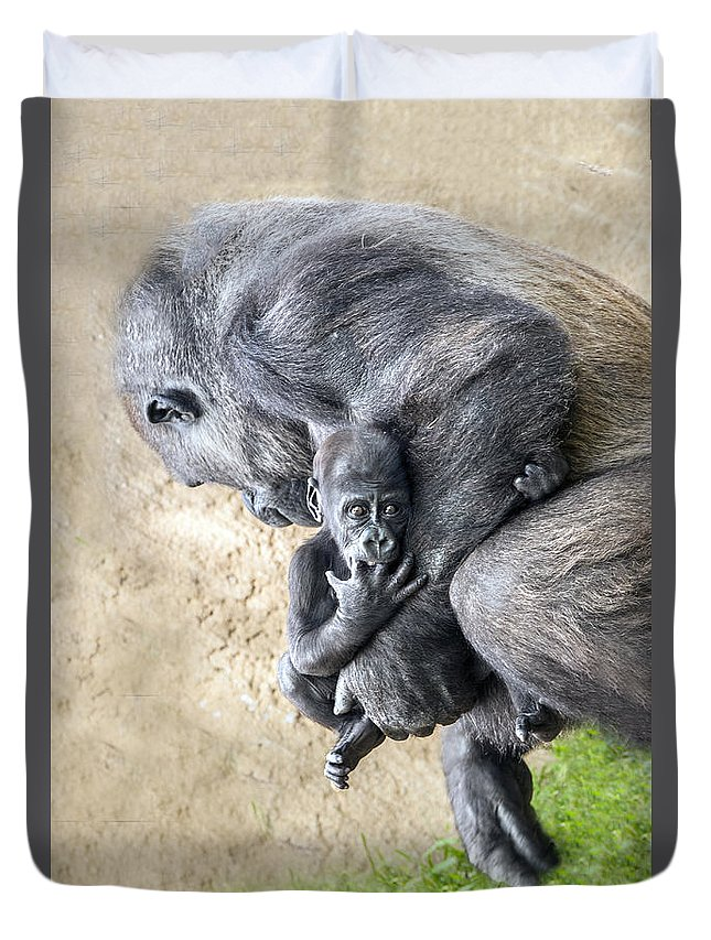 Gorilla Duvet Cover featuring the photograph A Mother's Embrace by William Bitman
