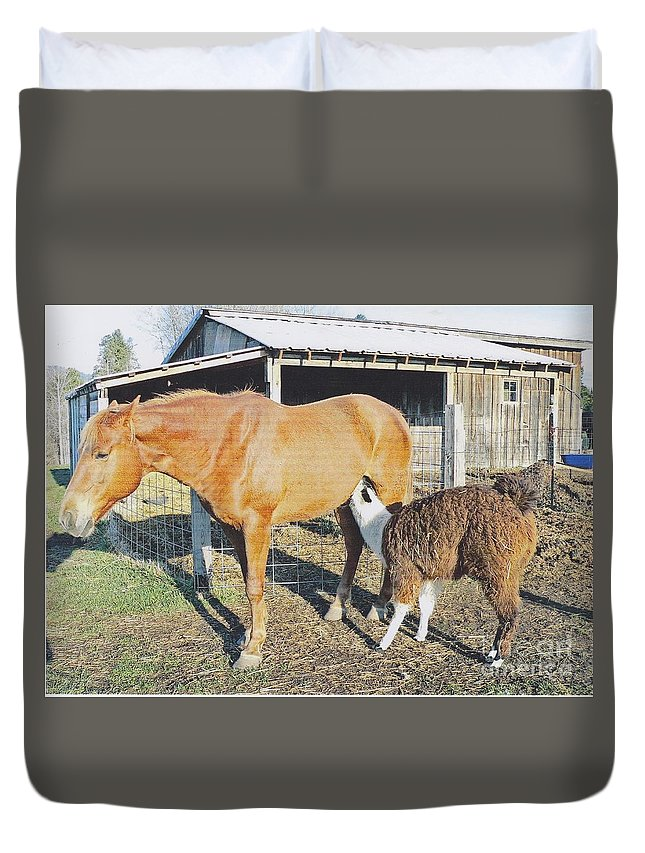 Nature Duvet Cover featuring the photograph A Mothers Love by Alvena Owen
