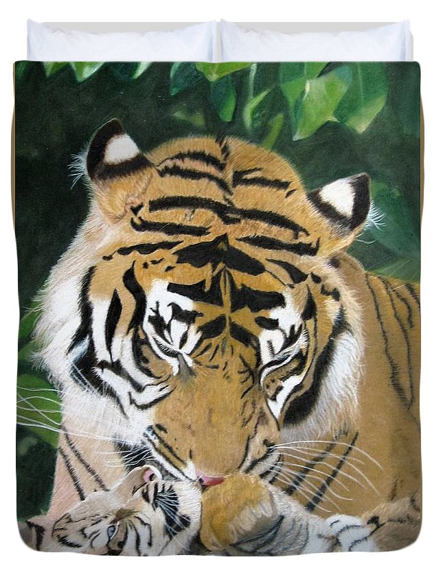 Tiger Duvet Cover featuring the drawing A Mother's Love by Lori Hanks