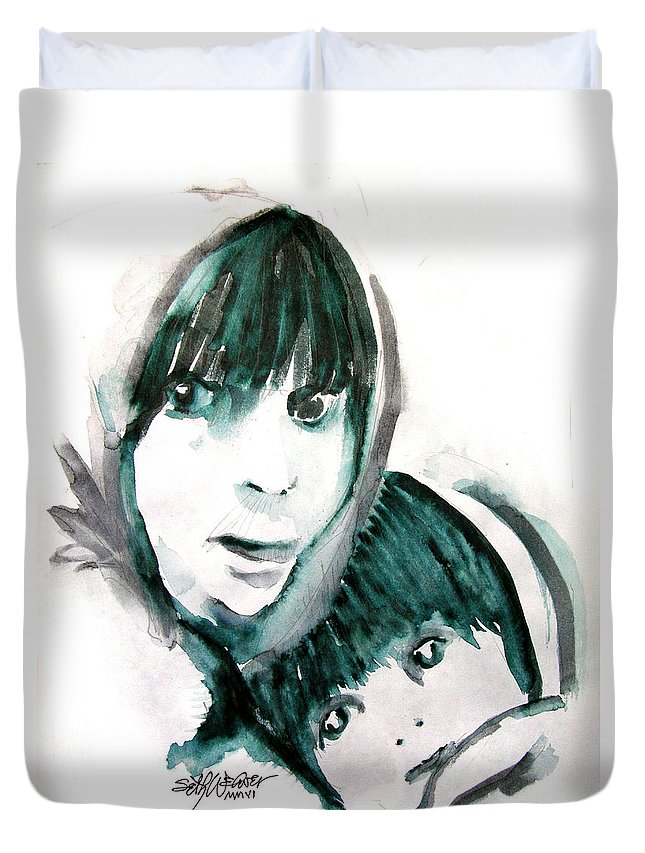 Mother And Daughter Duvet Cover featuring the painting A Mother's Love by Seth Weaver