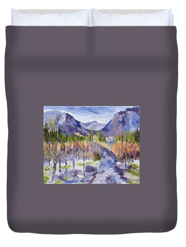 Rocky Mountains Duvet Cover featuring the painting A Mountain Road by Paula Formanek