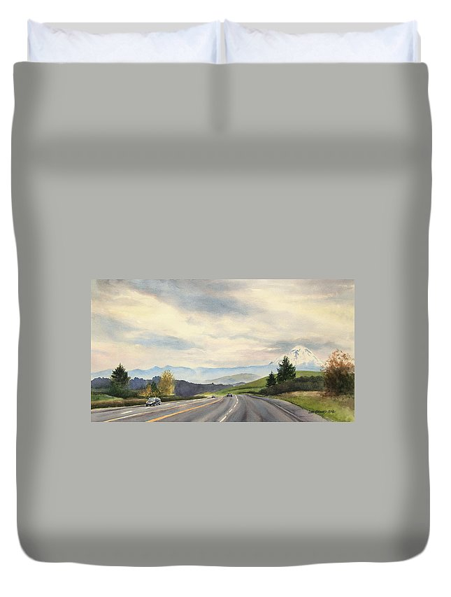 Mountain Duvet Cover featuring the painting A Mountain View by Lisa Pope