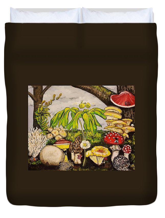 Fairytale Duvet Cover featuring the painting A Mushroom Story by Alexandria Weaselwise Busen