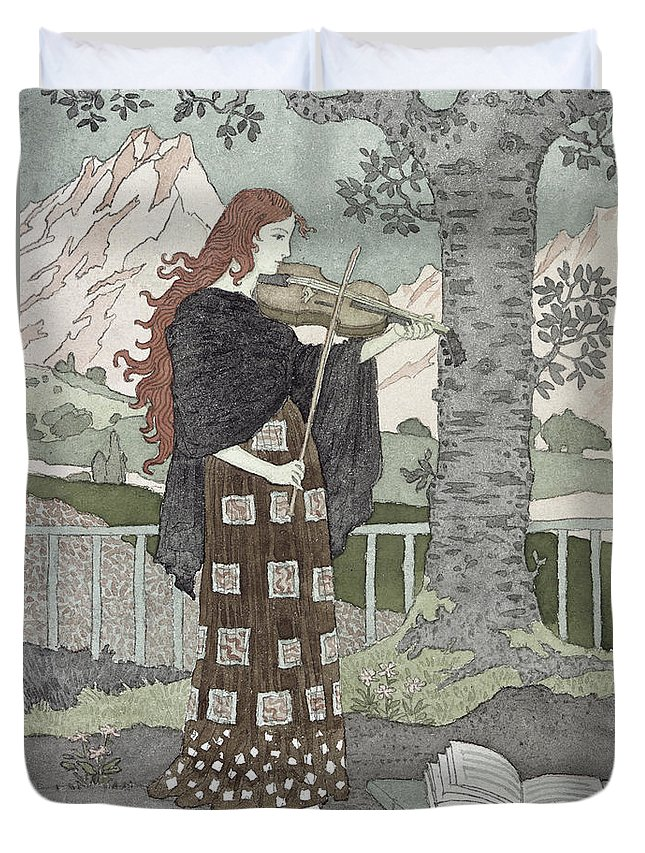 A Musician (w/c On Paper) By Eugene Grasset (1841-1917) Duvet Cover featuring the painting A Musician by Eugene Grasset