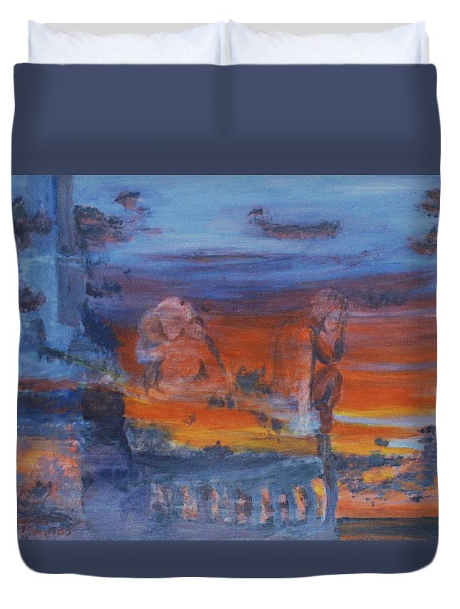 Abstract Duvet Cover featuring the painting A Mystery Of Gods by Steve Karol