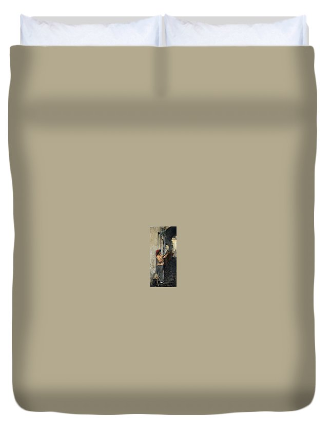 Fountain Duvet Cover featuring the digital art A Neapolitan Flax Spinner John William Waterhouse by Eloisa Mannion
