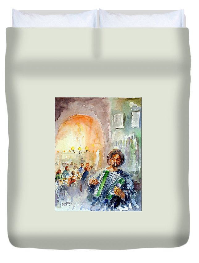 Tavern Duvet Cover featuring the painting A Night At The Tavern by Faruk Koksal