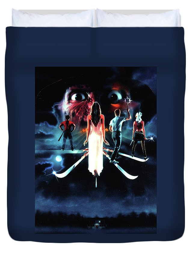 A Nightmare On Elm Street 3 Dream Warriors 1987 Duvet Cover featuring the digital art A Nightmare On Elm Street 3 Dream Warriors 1987 by Geek N Rock