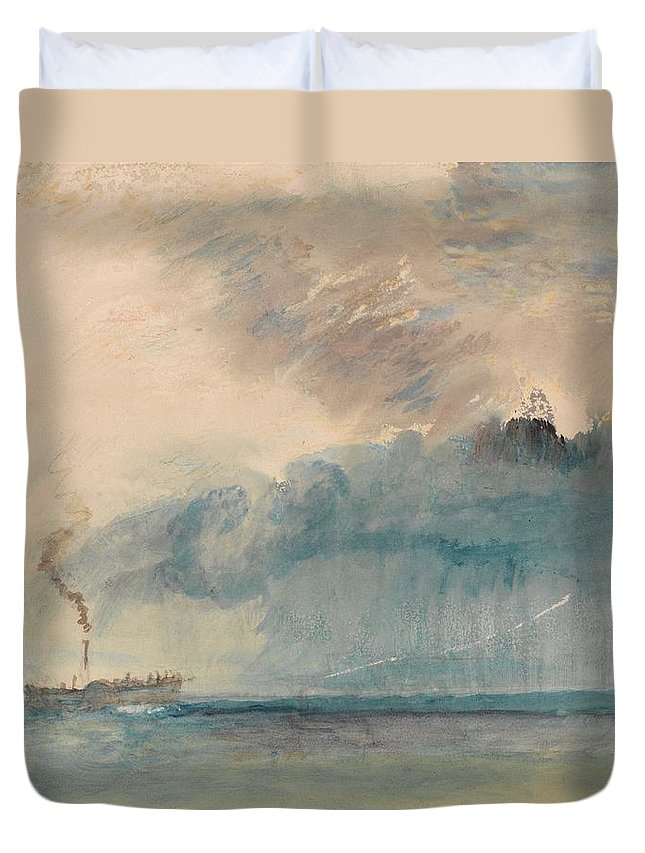 A Paddle-steamer In A Storm Duvet Cover featuring the painting A Paddle-steamer In A Storm by Grypons Art