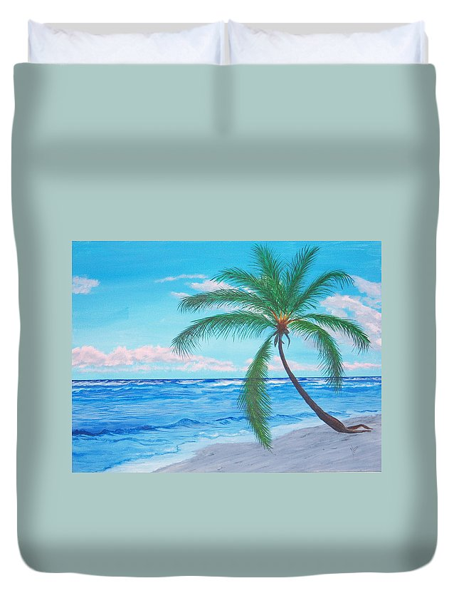 Beach Duvet Cover featuring the painting A Palm At Sunrise by Nancy Nuce