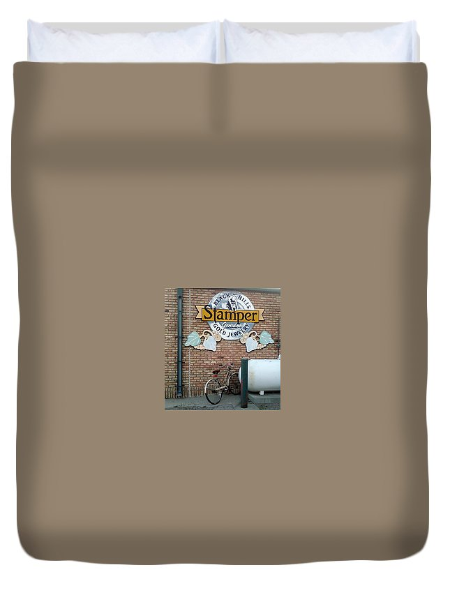 Bicycle Sign Rain Gutter Bricks Duvet Cover featuring the photograph A Parked Bicycle by Cindy New